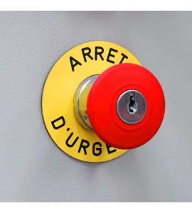 Plaque PVC arrêt d'urgence