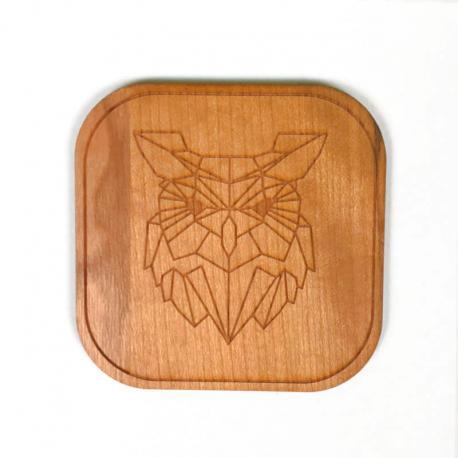 Dessous de verre bois Hibou