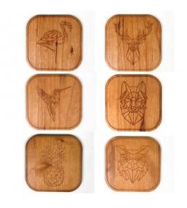 Lot de 6 dessous de verre en bois