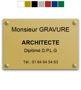 Plaque professionnelle architecte 30x20cm